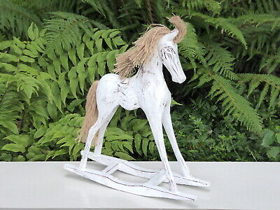 Rocking Horse Wooden Carving Ornament Statue 32cm..... • 16.99£