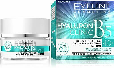 Eveline Hyaluron Clinic Intensely Firming Anti Wrinkle Day&Night Face Cream 40+ • 8.49£