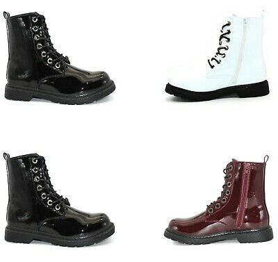 Ladies Lace Up Side Zipper Block Heel Military Ankle Boots Shoes Size 3-8 • 19.99£