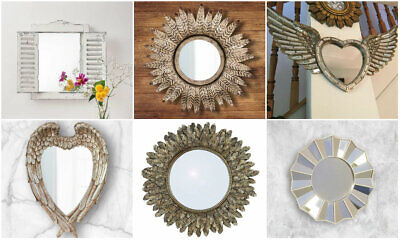 £10.79 • Buy NEW Mirror Faceted Feather Shutter Wall Mounted Hanging Living Decor Home Vanity