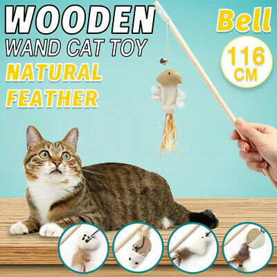 AU8.80 • Buy 1X/2X Cat Play Toy Feather Teaser Wand Interactive Stick Feather With Bell Rod