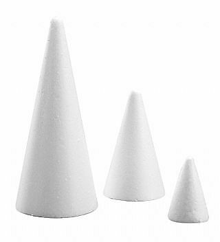 21cm Polystyrene Cone To Decorate   Styrofoam Shapes For Crafts • 2.18£
