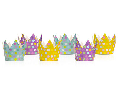£2.46 • Buy 6 Spotty Mixed Colour Card Crowns For Kids Parties | Kids Birthday Party Hats