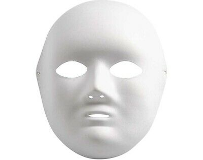 White Full Face Formed Paper Craft Mask For Kids To Decorate | Masks To Decorate • 2.96£