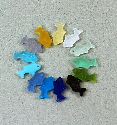 £1.83 • Buy Fish Pendant Charm Beads, YOU PICK COLOR, Frosted Matte Sea Glass Finish, 2 Pcs