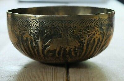 Vintage Brass Indian Bowl With Wolf And Forest Design • 14.50£