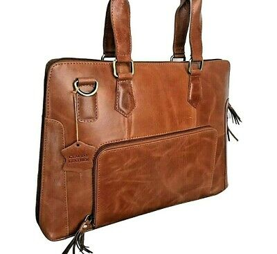 Mens Genuine Real Leather Laptop Bag Briefcase Satchel Brown Tan 13 Inch Holdall • 64.99£