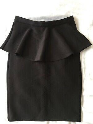 Reduced BNWT Topshop Pencil Skirt In Black With Peplum Detail UK Size 8 • 5£