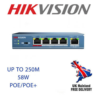 Hikvision 4-ports 100Mbps Unmanaged PoE Switch (DS-3E0105P-E) • 64£