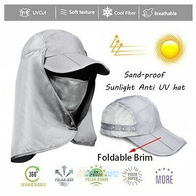 $12.79 • Buy 360° Protection Flap Hats Folding Sun Cap UPF 50+ Flap Cap Unisex Light Gray NEW