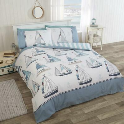 Nautical Duvet Cover Set Sailing Boats Quilt Cover Bedding Bed Set Sail Away New • 19.95£