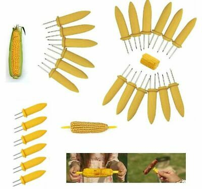 £3.49 • Buy 6 X STAINLESS STEEL CORN ON THE COB SKEWERS HOLDERS SWEETCORN BBQ PRONGS PARTY