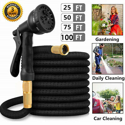 25-100FT Expandable Garden Hose Pipe Kink-Free Flexible Water Hose Spray Gun UK • 30.99£