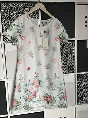 BNWT Girls Yumi Dress Age 12 Tunic Style White With Floral Chiffon Overlay. • 17£