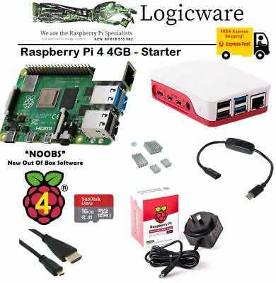 AU145.95 • Buy Raspberry Pi 4 Model B 4GB Starter Pack | Official Power Supply Class 10 Microsd