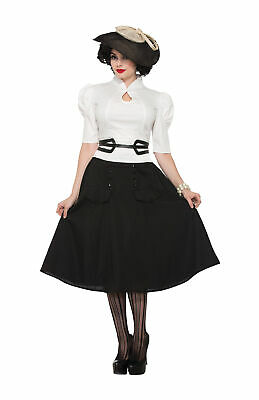Ladies 1940's World War 2 Bookweek Fancy Dress Party Outfit White Blouse New • 16.49£