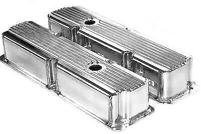 Ford FE Polished Aluminum Fabricated Finned Tall Valve Covers BBF 360 390 428 • 139.99$