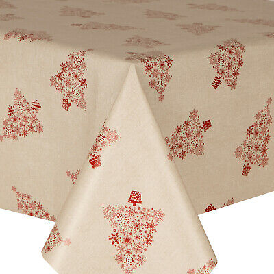 Pvc Table Cloth Xmas Tree Linen Red Beige Burgundy Snowflake Christmas Wipe Able • 14.99£