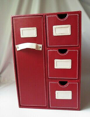 £17.20 • Buy Ribbon Organizer Art Craft Scrapbook Paper Home Storage Drawer Red Faux Leather