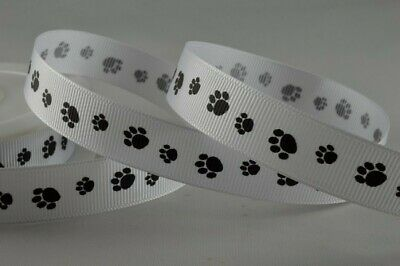 White Grosgrain Ribbon With Black Dog Animal Paw Prints 16mm X 2 Metre From Roll • 1.75£