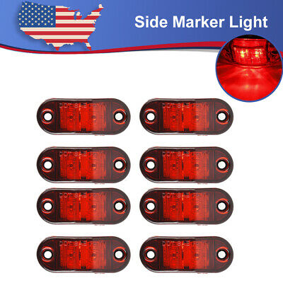 8x 2.5   Red Oval Side Marker Light Trailer Truck RV Boats Waterproof Clearance • 14.80$