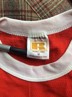 $ CDN35.18 • Buy Vtg 70s Russell Athletic Blank Red Jersey Style Ringer T-Shirt S/M Plain Nylon