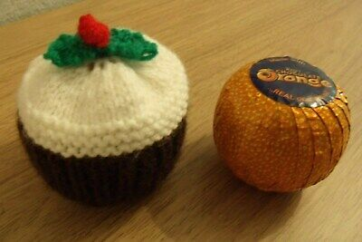 Hand Knitted  Christmas Pudding Chocolate Orange Cover Or Bath Bomb Cover • 3.25£