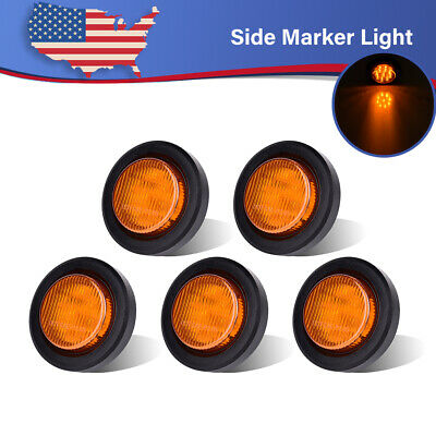5x 2  Amber  Round Sealed Side Marker Light 9LED Mount Grommet RV Trailer Truck  • 45.56$