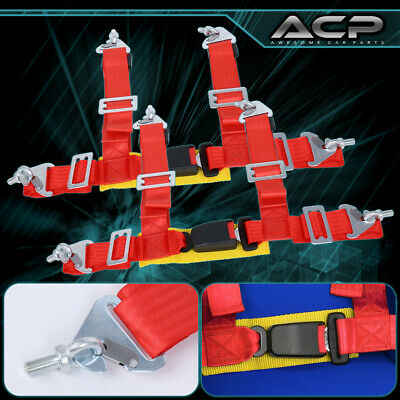 $ CDN62.48 • Buy 2 X Universal Pair 2  Red 4 Point Buckle Racing Seat Belt Harness Latch Link