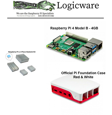 AU115.85 • Buy Raspberry Pi 4 Model B With 4GB RAM With Official Red And White Case Made In UK