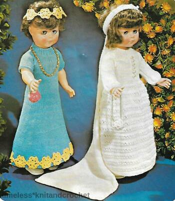 KNITTING PATTERN FOR  DOLL'S WEDDING DRESS / CLOTHES - To Fit 20 INCH DOLL • 3£