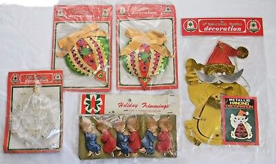 $ CDN20.99 • Buy Lot Vintage Christmas COMMODORE & ART PLASTICS Package Decorations Honeycomb NOS