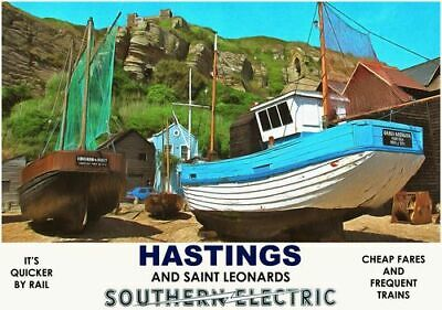 £16.60 • Buy Vintage Style Railway Poster Hastings Saint Leonards East Sussex A4/A3/A2 Print