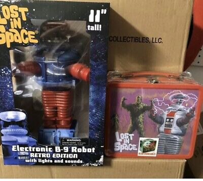 AU113.17 • Buy Lost In Space B9 Retro Electronic Robot Figure DST + Lunch Box New Promo
