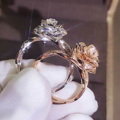 AU4.19 • Buy Fashion Flower Rings For Women 925 Silver Jewelry White Sapphire Size 6-10