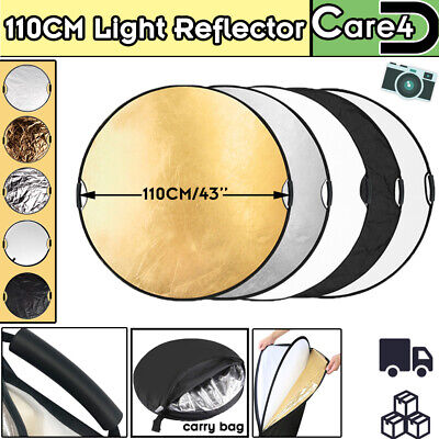 £18.94 • Buy 110CM 5IN1 Collapsible Reflector Photography Light Handle Round Grip Diffuser UK