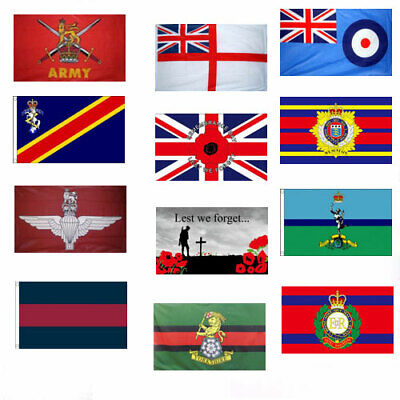 BRITISH MILITARY FLAGS 5' X 3' Army Parachute Regiment REME Armed Forces Day Etc • 5.50£