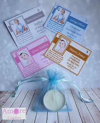10 X Photo Tealight SCENTED Candle Favours Christening Baptism Holy Communion  • 6£