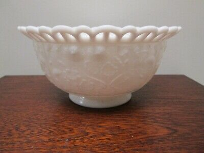 $15 • Buy Imperial Ohio Milk Glass Lace Edge Footed Bowl W/ Floral Pattern Inside & Out