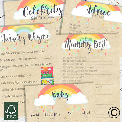 BABY SHOWER GAMES- Rainbow Kraft Unisex Favours Predictions Who Knows Mummy Best • 2.99£