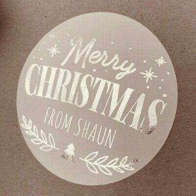 £3.99 • Buy Personalised FOILED Christmas SILVER Party Gift Bag Stickers Xmas