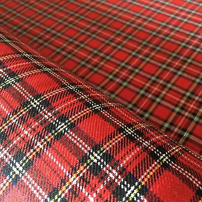 Polyviscose Tartan Fabric - Red Royal Stewart Minature - Priced By The 1/4m • 1.90£
