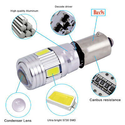 AU16.99 • Buy 10X BAX9s H6W 434 CANBUS ERROR FREE WHITE LENS 6 LED SIDELIGHT BULBS 150LM DC12V