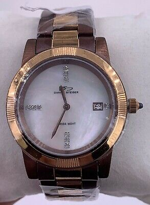 $99.99 • Buy NEW Daniel Steiger Diamond Mother Of Pearl Rose Gold 2 Tone Watch 5046G