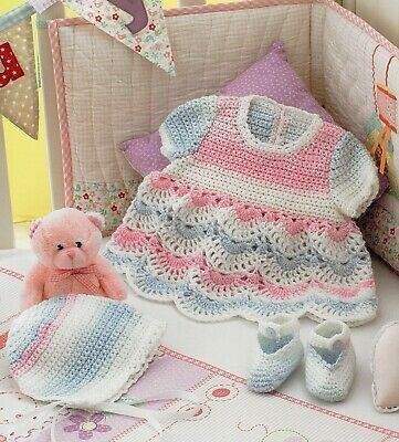 Crochet Pattern- Baby Girl Dress, Hat And Booties (6sizes Prem-12M) PO374 • 1.99£