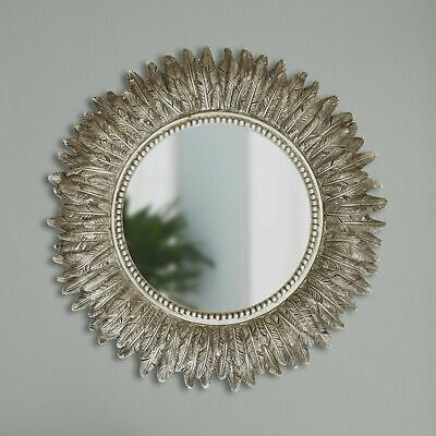 Large Wall Mountable Round Feather Mirror Antique Silver Living Room Bedroom  • 26.99£