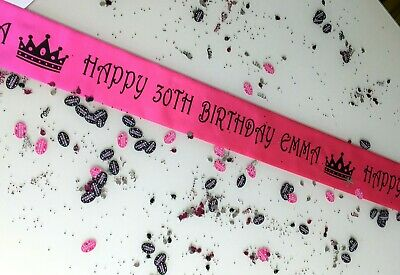PERSONALISED Ribbon Table Runner. Any Wording. Confetti .You Choose Length • 4.25£