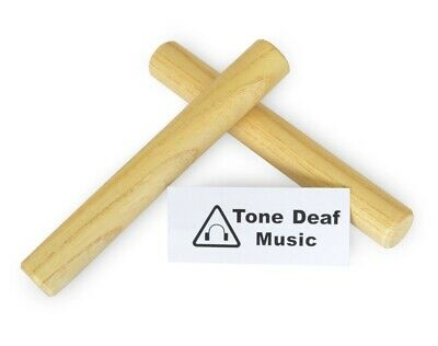 """WOODEN CLAVES - 2x 7"""" Hardwood Maple Hand Percussion Clave / Rhythm Stick Latin • 4.28£"""