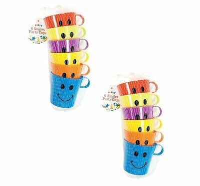 12x CHILDREN KIDS SMILEY MUGS CUPS WITH HANDLE FUN HOME CAMPING TRAVEL PLASTIC • 7.06£