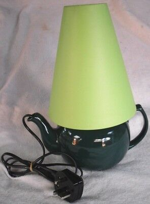 New Retro Green China Teapot Converted Into A Table Lamp With Shade & Bulb Etc. • 19.95£